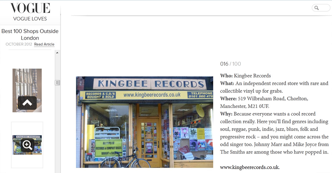 Vogue Best 100 shops outside London - Kingbee Records