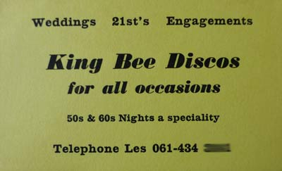 King Bee Discos card from the 1980s