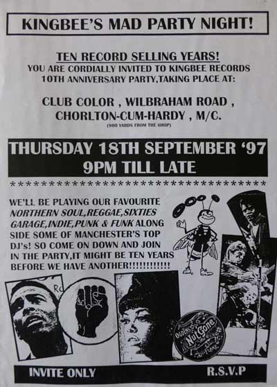 Kingbee Records 10th Anniversary Flyer from 1997