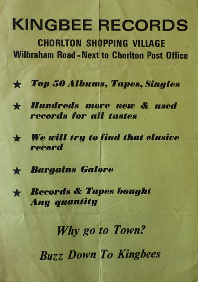 Kingbee Records Flyer from Chorlton Shopping Village - 1980's