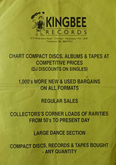 Kingbee Records Flyer from the 1990's