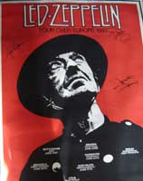 Led Zeppelin Autographed 1980 Tour Poster - Rare Original Led Zeppelin Poster from the last ever Concert by the group whilst John Bonham was alive,one of the advertised Berlin tour dates was cancelled due to John Bonhams ill health, 2 months later he died, the band disbanded saying he was irreplaceable...a truly One Off Unique item